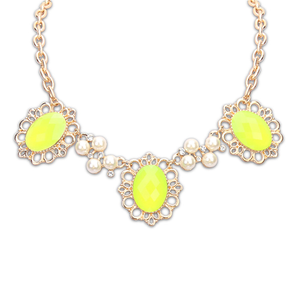 Alibaba stock price pearl beaded 22k gold gold plated chains jewelry neon yellow resin pendant kids necklace PN2214