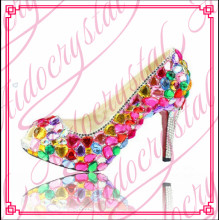 Aidocrystal high quality colorful mid heel dress shoes big size ladies high heels with diamond