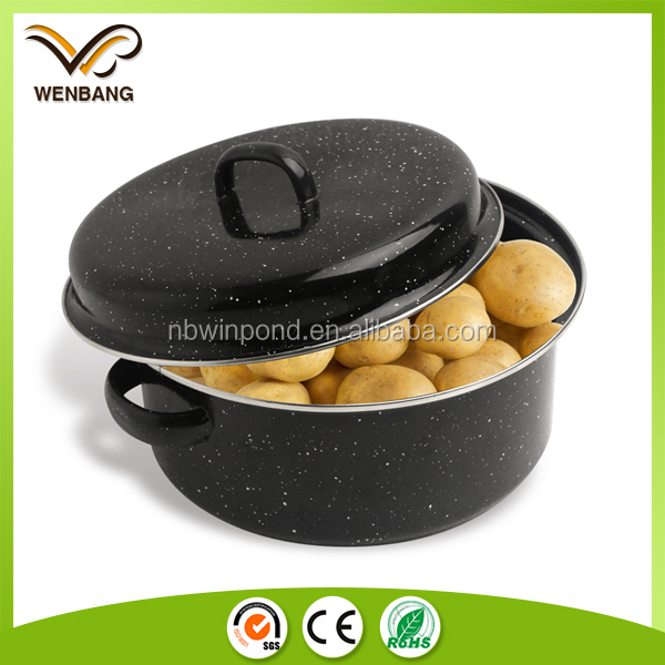 Carbon steel round enamel roasting pan with grill