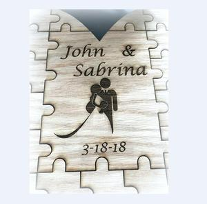 2018 hot sale laser engraved wood wedding guestbook