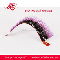 Hot sale two tone colored synthetic hair individual false eyelashes