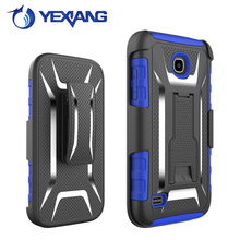 Hybrid hard pc silicone transverse line kickstand stand holder case for huawei union y538