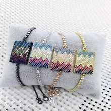Wholesale High Grade Big Rectangles Design Zircon Cz Beads Braided Bracelets For Women