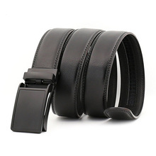 3.5cm Width Black Fashion Latest Cowhide Leather Replica Designer Ratchet Belts for Men
