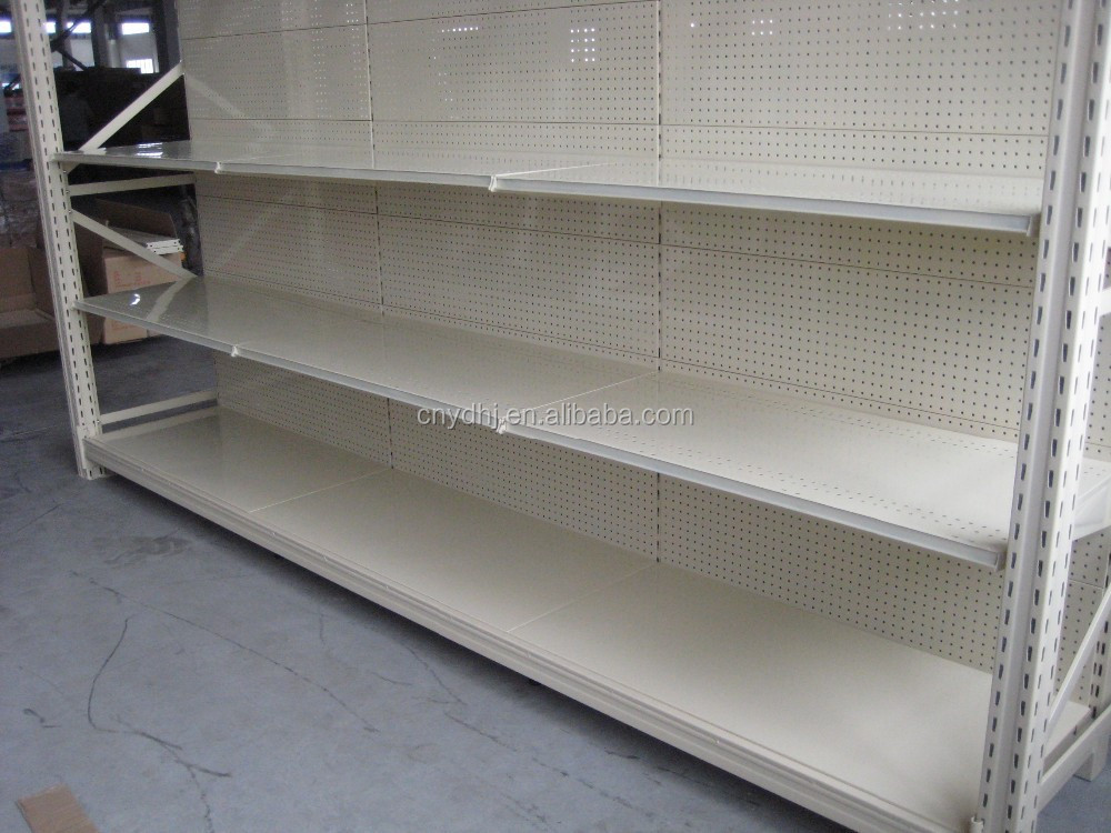 Pegboard Supermarket Shelves Metal Gondola Shelving Perforated Stands Display Punching Supermarket Racks