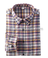 wholesale customized Men's Shirt Cotton yellow black flannel fabric plaid flannel shirt