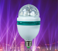 E27 Full Color Rotating Lamp Strobe LED Crystal Stage Light for Disco Party Club Bar Dj . Ball Bulb Multi Color Changing