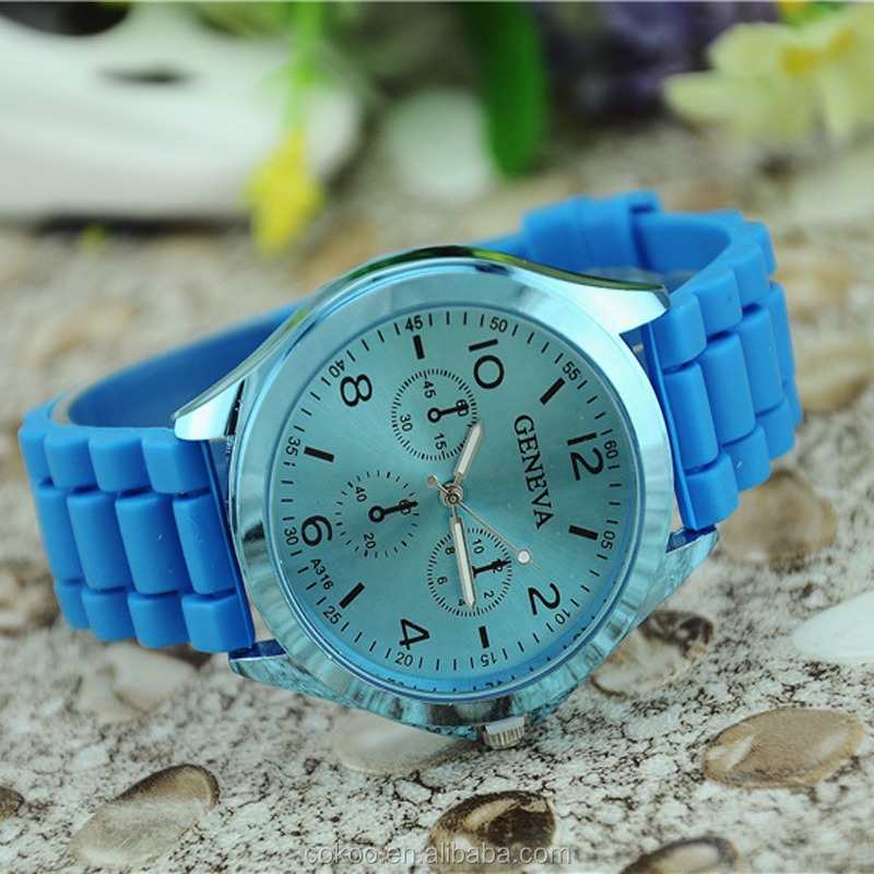 Fashion Classic Unisex Geneva Silicone Watch Jelly Gel Silicone Rubber Belt Analog Women Men Quartz Wrist Watches