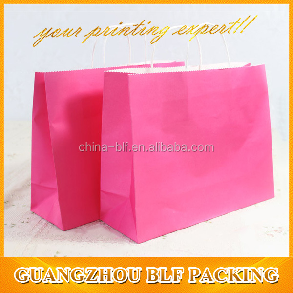 simple design paper twisted handle white kraft plain paper bags