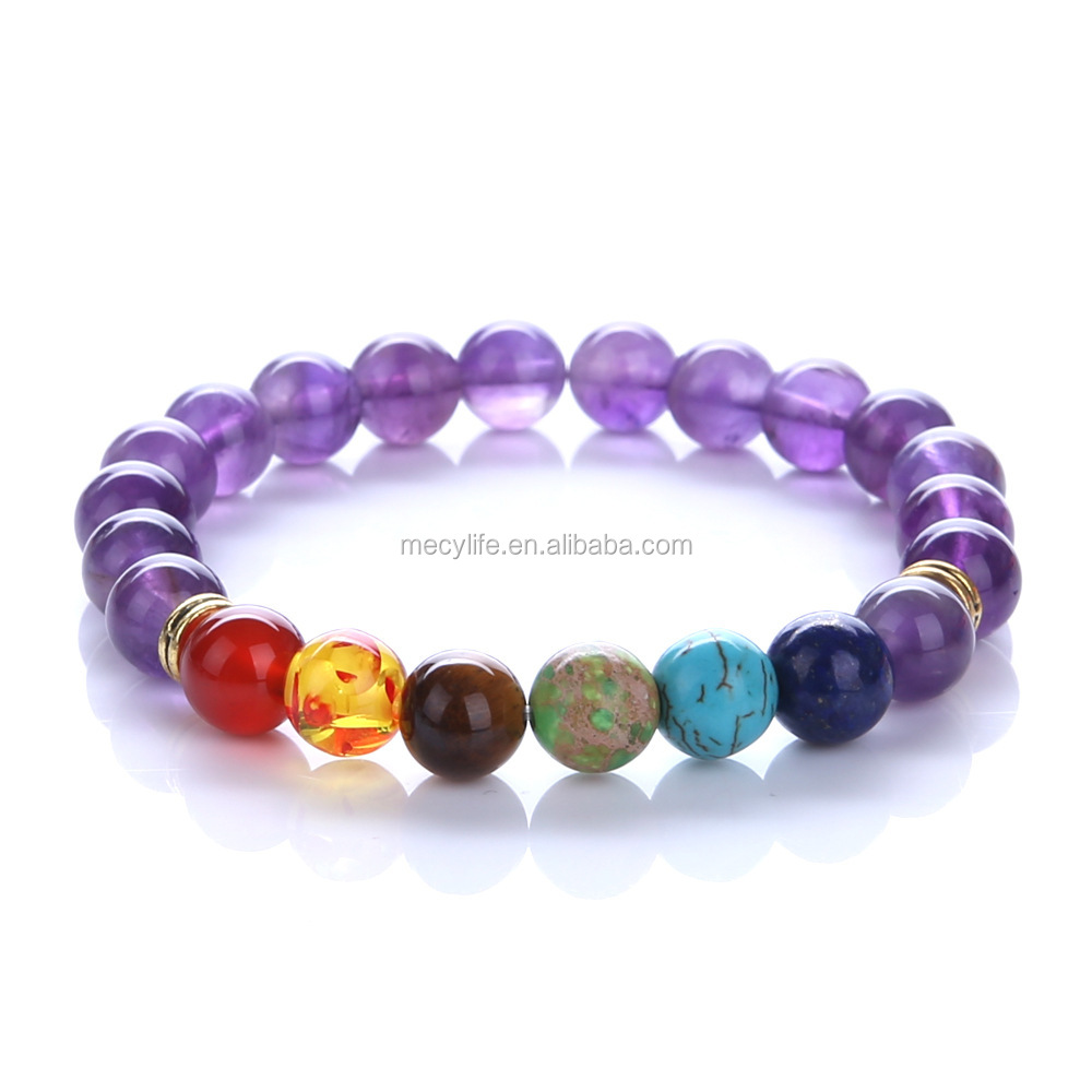 MECYLIFE Chakra Jewelry Natural Beads Stone Bracelets Yoga Colorful Bracelets