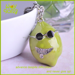 yiwu Factory OEM fuuny face 3D cute orange keychains