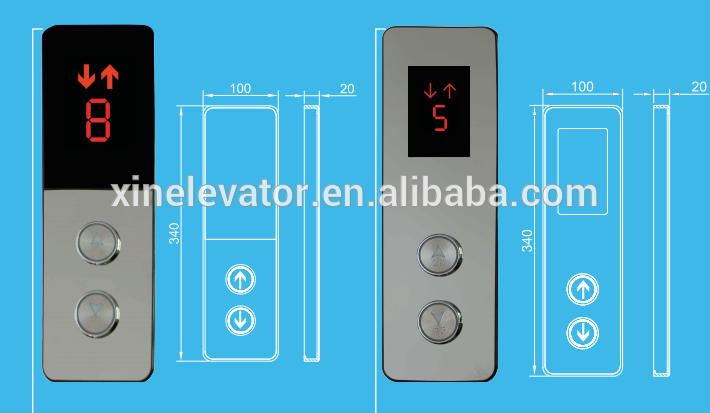 glass touch lop cabin cop / control panel with fire signal for elevator