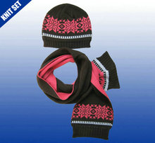 newest fashionable design acrylic three color stripe plain knitted scarf hat casquette set
