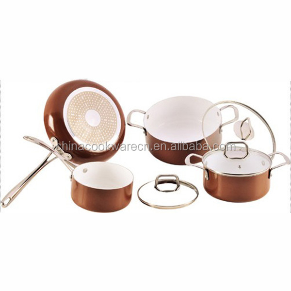 Copper aluminum cookware set induction bottom ceramic cooking pots and pans