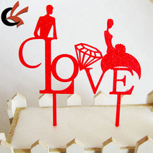 Fashion Laser Cut Love Acrylic Cake Topper for Party Decoration