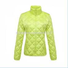 Hot sale fashion new breathable plaid yellow woman winter jackets