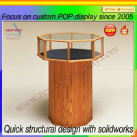 High quality wooden and round glass cabinet jewelry display case