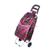 Hot sale 600D polyester/Satin EVA wheel folding foldable shopping trolley bag