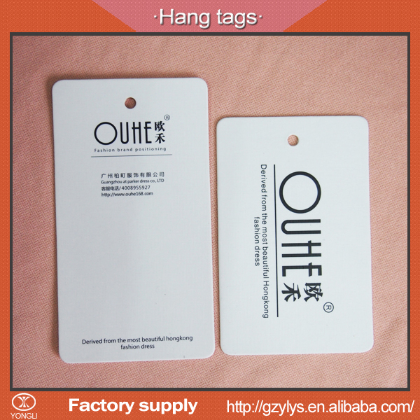 China fashion cardboard garment hang tags custom with your own brand name / logo