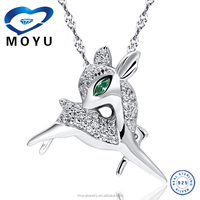 925 sterling silver jewelry wholesale fawn Pendant as Christmas Gift