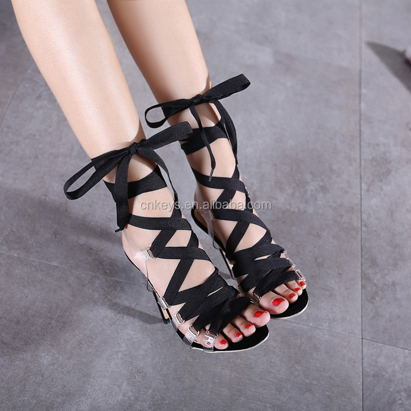 K1615A new arrival high heel bandage black sandals 2017 europe sandals women shoes
