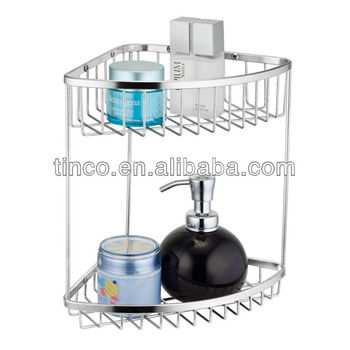 Double Tiers Stainless Steel Corner Shower Basket