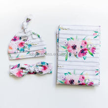 2018 Newborn Baby Floral Striped Swaddle Blanket +Headwrap Hospital Swaddled Sets For Photograph Props