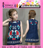 Flower Design Girls Party Dress Round Neck Girls Party Dress