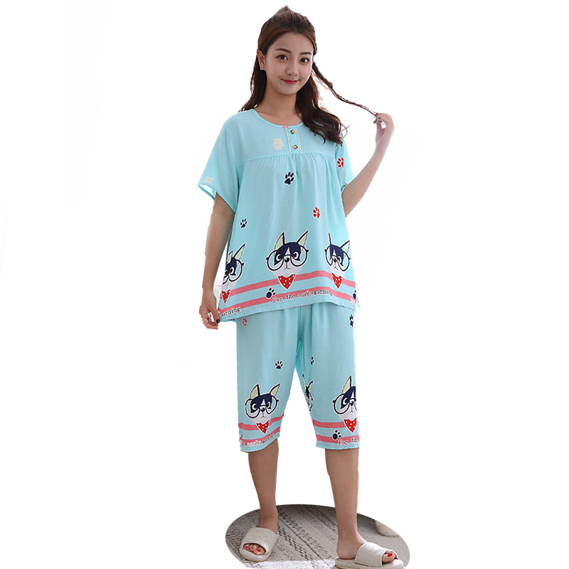 Free Shipping Summer Hot Rayon Cute Dog Cartoon Women Short-sleeved Pajamas Set Round Neck Short Shirt+Long Pants Nightwear <strong>001</strong>