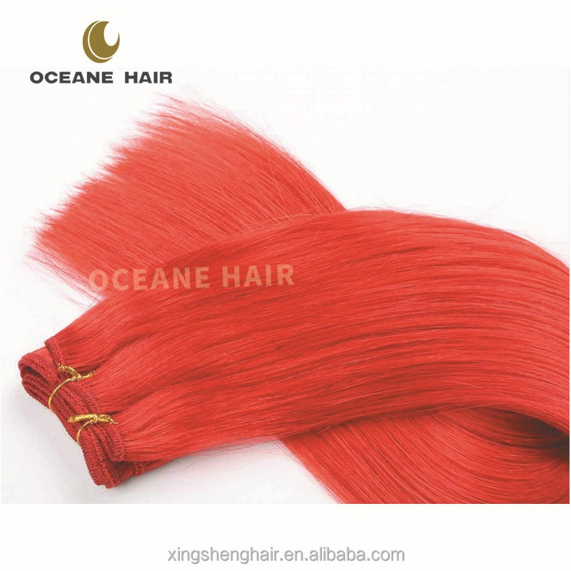No shedding no tangle high quality soft red color indian remy human hair weaving
