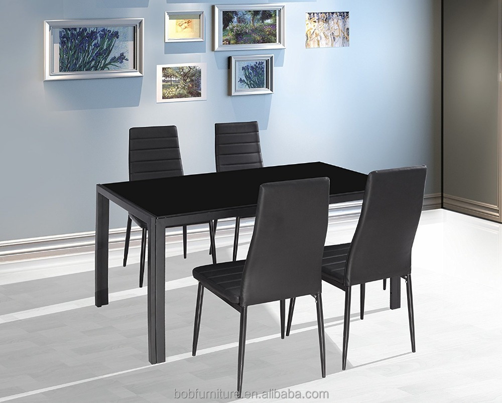 Home Dining Kitchen 4 Person Furniture Set with Glass Top Table Metal Leg Chairs