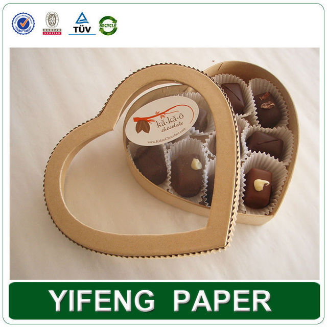 Cheap Custom Heart Shaped Chocolate Box, Clear pvc Window Gift Box