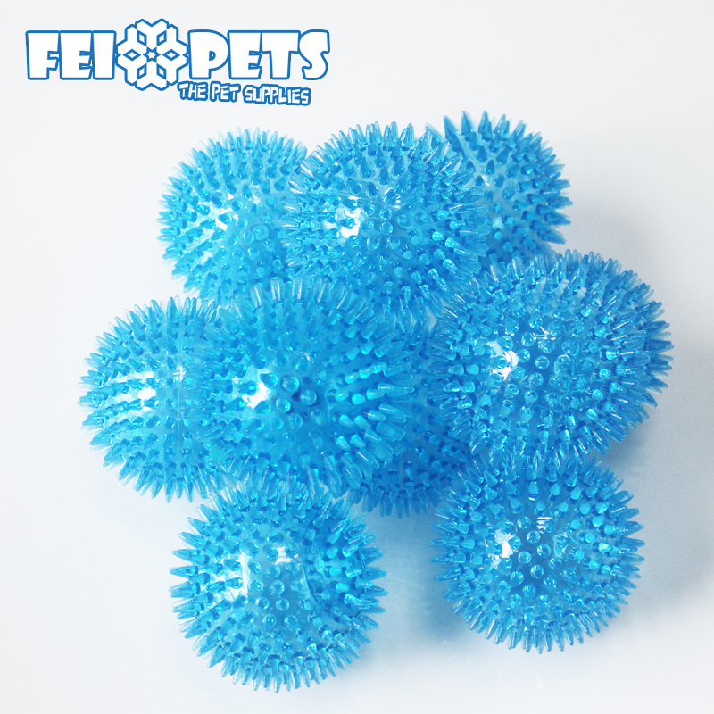 Cheap Squeaky Dog Ball Toys Spike Blue High Bouncing Ball For Pet