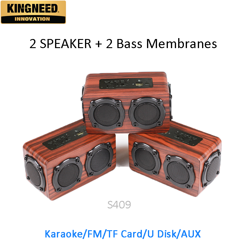 KINGNEED S409 portable wooden bluetooth <strong>speaker</strong> woofer <strong>speaker</strong>