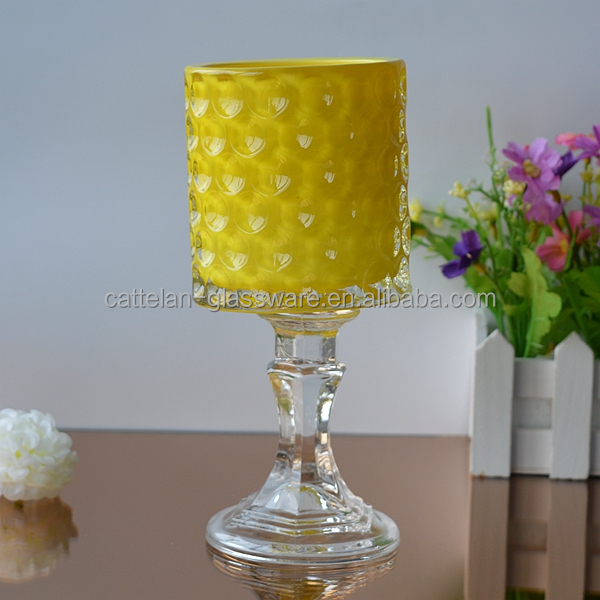 Lone-stemmed glass candle holder from Bengbu factory supplier