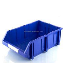 Adjustable stacking plastic bins for small parts of racks and shelvings