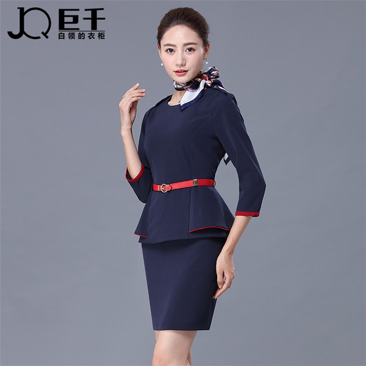 Dame l gante formelle costumes bleu rouge bureau de for Bureau uniform