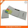 Three folded paper soft cover notebook with pen ruler and sticky notes