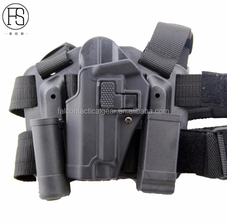 Tactical CQC Left Hand Drop Leg Thigh Quick Draw Pistol Holster w/ Magazine & Flashlight Pouch for Sig Sauer P226 P229
