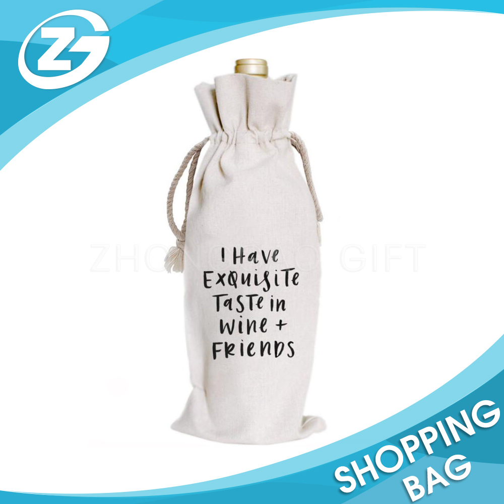 Wholesale Custom Recyclable Eco-friendly Promotional Printed Drawstring Gift Canvas Wine Bag