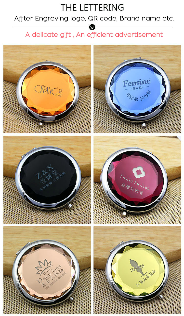 2018 Portable Folding Crystal small mirror compact pocket makeup mirror with gift box packing