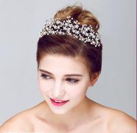 Fashion bridal crystal pearl hair accessories flower tiara crown wedding jewelry