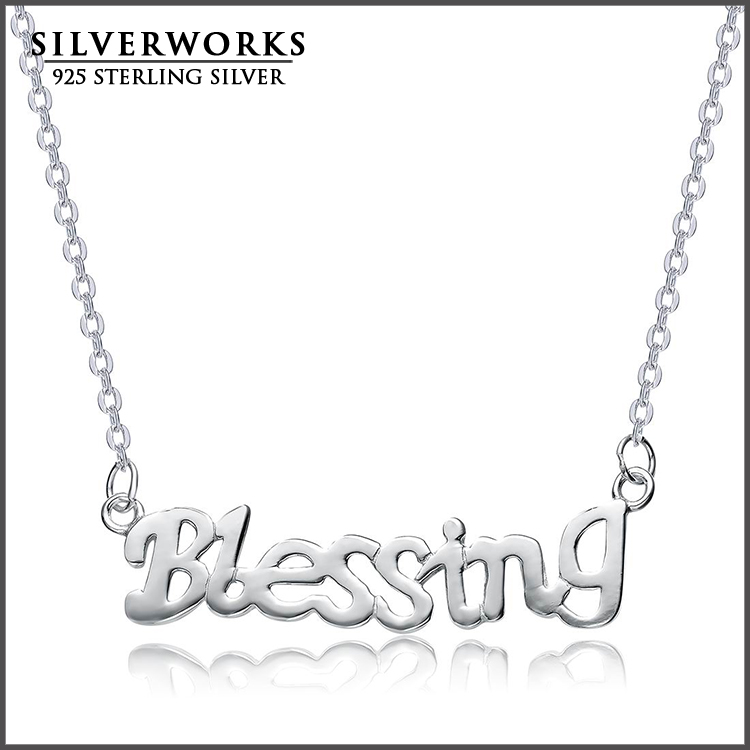 Personalized name plate Necklace 925 silver blessing pendants neckalce