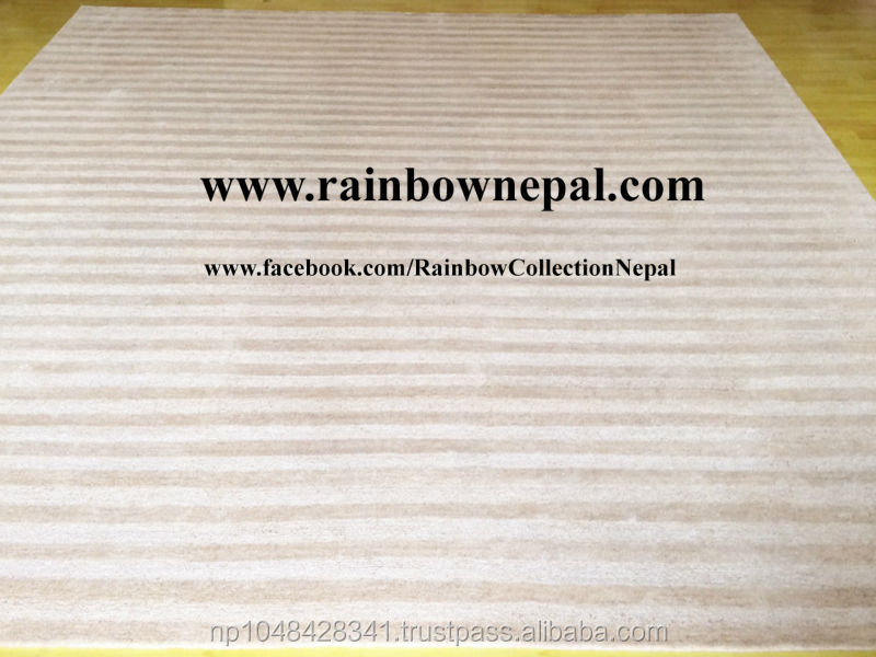 Nepalese Hand Knotted Wool Natural Beige White Stripe Tibetan Rug Carpet 9x12 ft