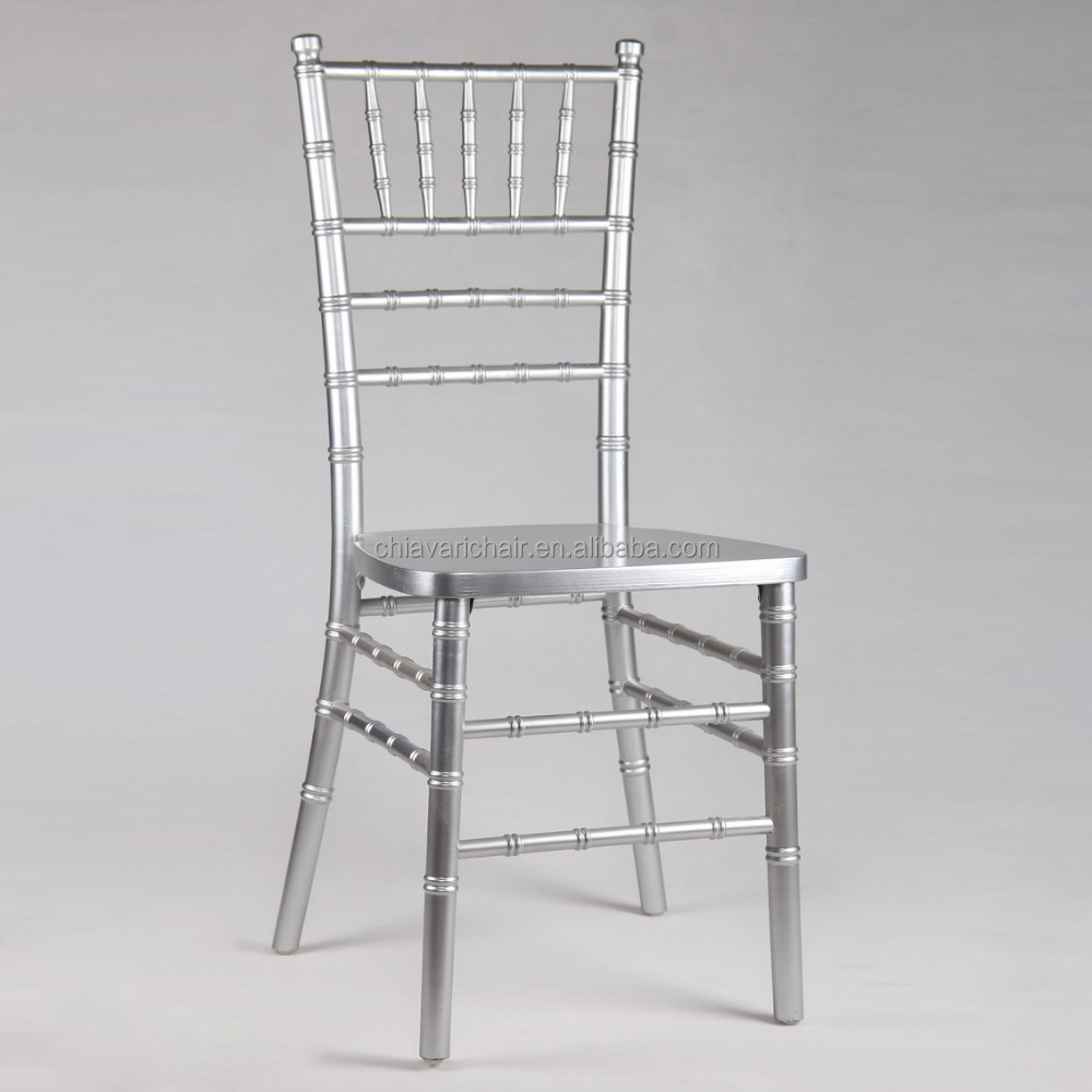 Stronger Big Thick Legs Silver Color Solid Wood Chiavari Ballroom Hotel Chairs