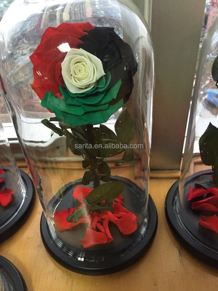 wholesale real natural preserved roses in glass dome/tubes everlasting <strong>flowers</strong>