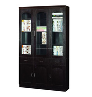 bookcase 3 door black color bookshelf