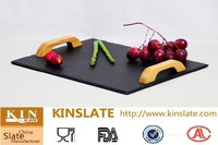 Natural black slate serving tray with wooden handles