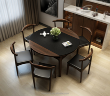 2017 Home furniture Modern Simple wood MDF Black Burning Stone + Veneer+ Hidden Induction Cooker Dining Room Table Sets