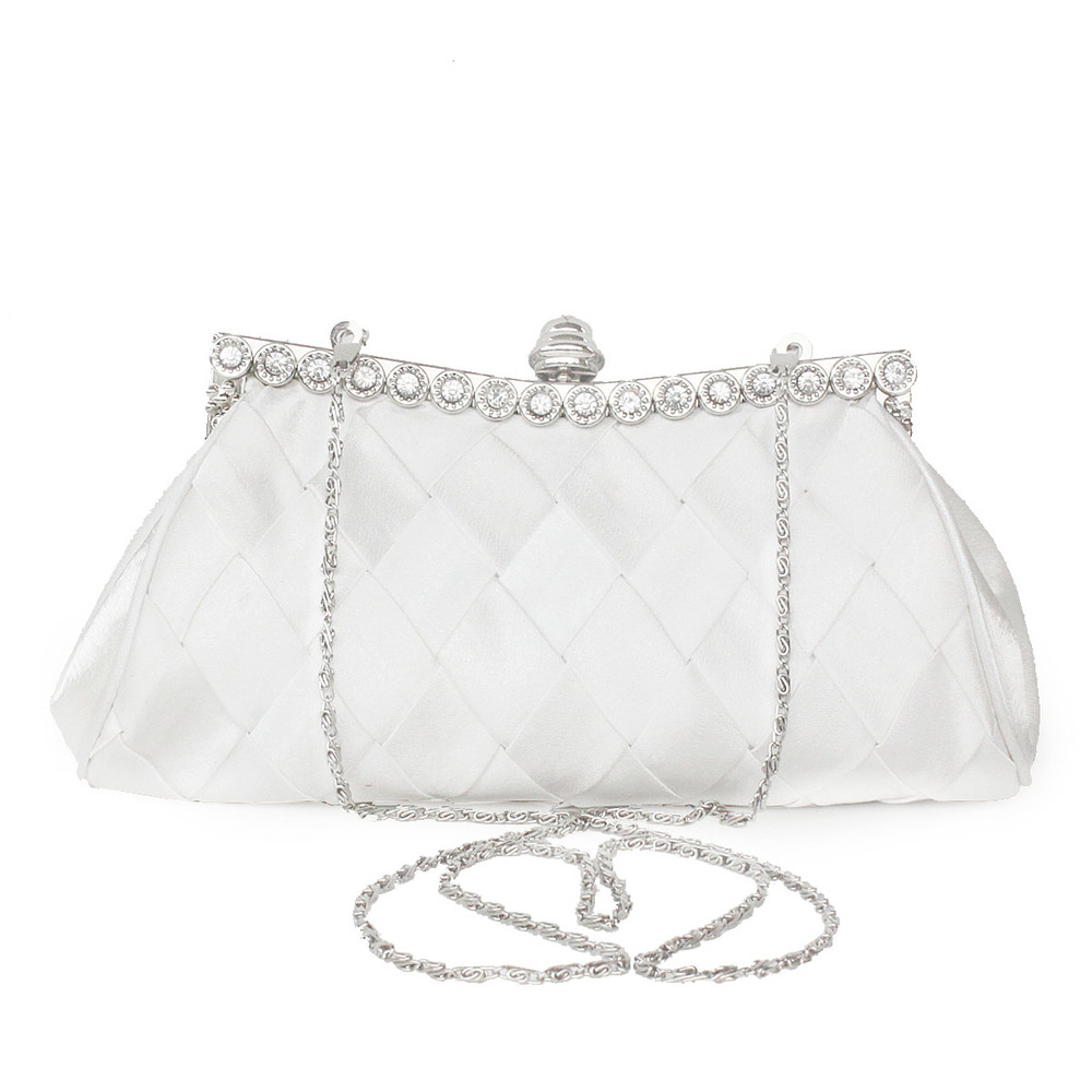 White simple style silk material clutch for wedding bridal
